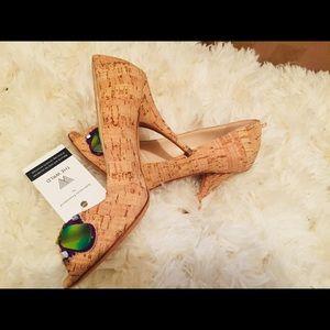 Oscar de la Renta beaded cork heels * pumps *   6
